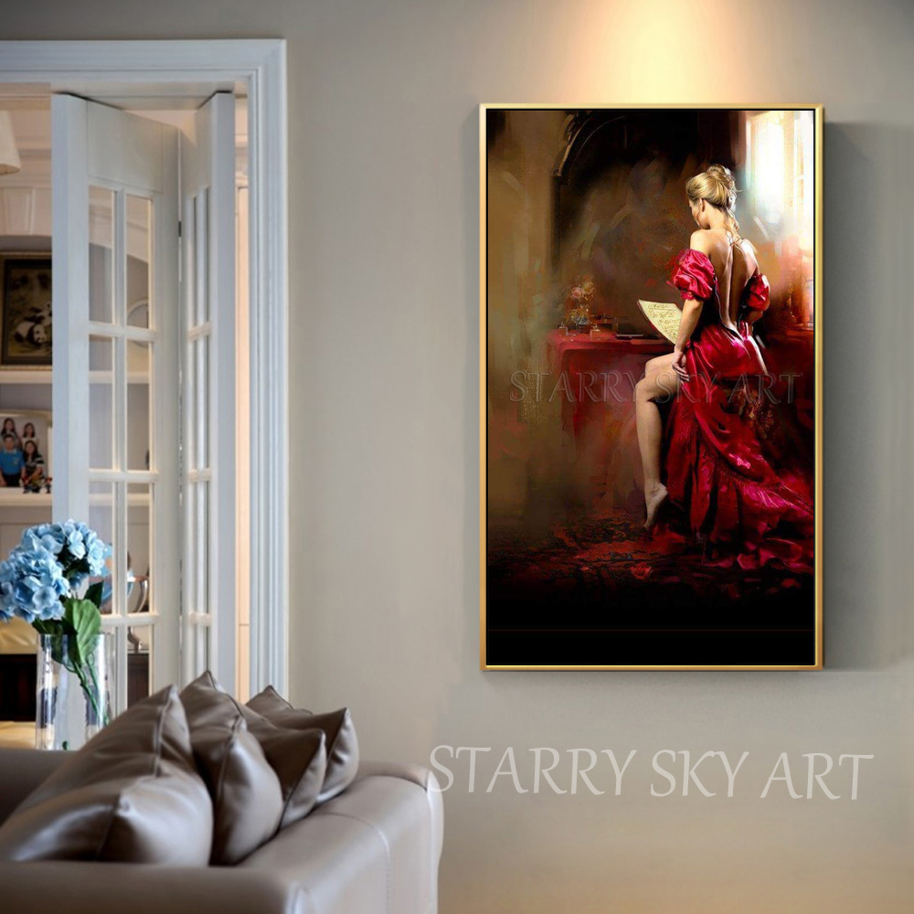 Pure Handmade High Quality Impressionist Sexy Lady Figure Oil Painting on Canvas Luxury Wall Painting Sexy Lady Back Painting in Painting Calligraphy from Home Garden