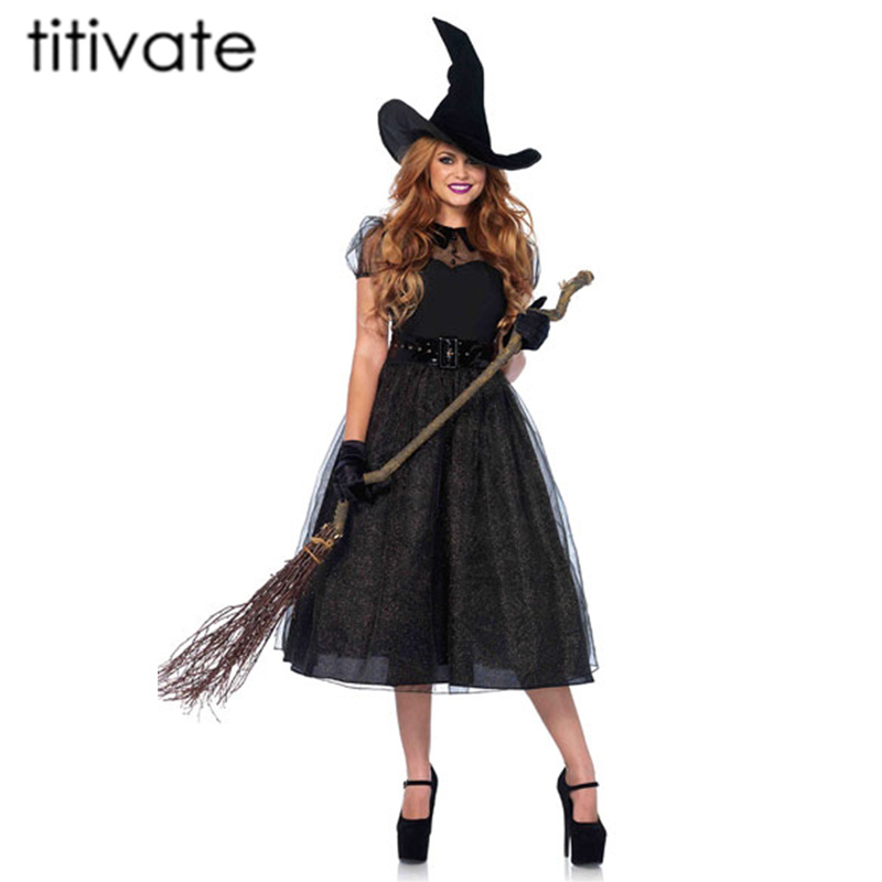 TITIVATE Gothic Witch Sorceress Fancy Dress Witch Adult Wicked Halloween Costume Costume Cosplay