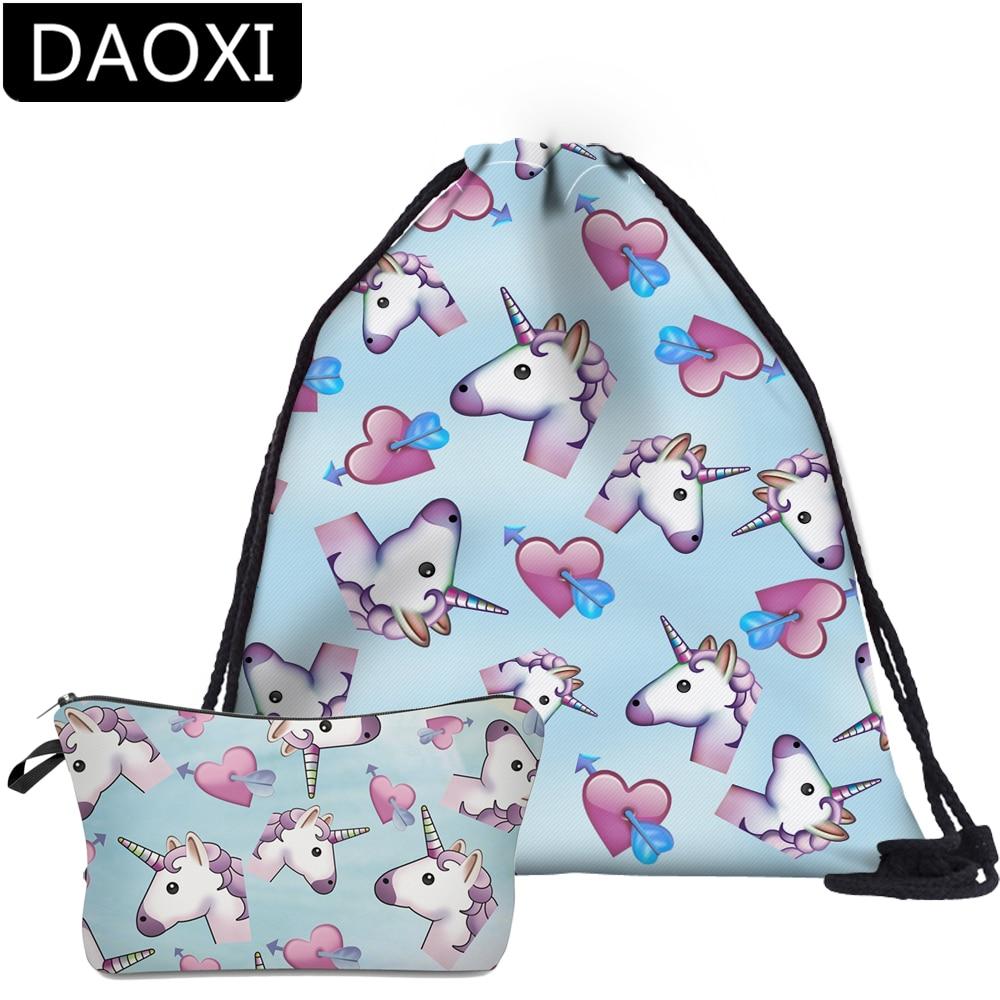 DAOXI 2Pcs Unicorn Printing Backpack School Bags For Teenage Girls DropshippingDAOXI 2Pcs Unicorn Printing Backpack School Bags For Teenage Girls Dropshipping