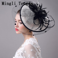 Mingli Tengda Exaggerated Big Disc Hemp Hat Black Wedding Party Headdress Wedding Hat Veil Flower and Feather Wedding Hat Bride