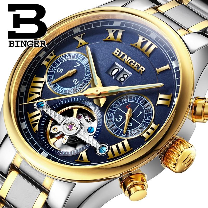 Suíça BINGER homens relógio marca de luxo Turbilhão de safira luminosa múltiplas funções de Pulso Mecânicos B8602-7