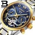 Suíça BINGER relógios homens marca de luxo Turbilhão de safira luminosa múltiplas funções de Pulso Mecânicos B8602-7