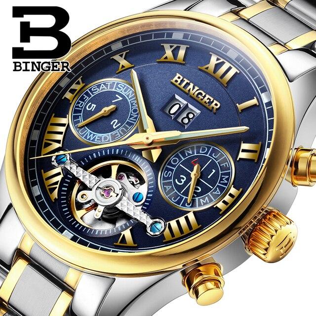 e7f1b1116d5 Suíça BINGER homens relógio marca de luxo Turbilhão de safira luminosa  múltiplas funções de Pulso Mecânicos