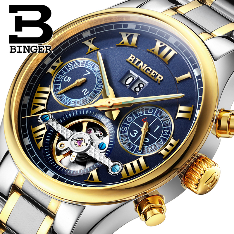 Switzerland BINGER font b watches b font men luxury brand Tourbillon sapphire luminous multiple functions Mechanical