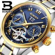 Suiza BINGER relojes hombres marca de lujo de Tourbillon zafiro luminoso de múltiples funciones de Pulsera Mecánicos B8602-7