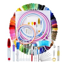 140Pcs Embroidery Cross Stitching Punch Needle Kit Full Range of Embroidery Starter Kit with Magic Embroidery Pen Punch Needle
