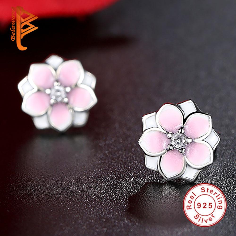 88d36b59e Fashion Magnolia Bloom Stud Earrings Solid 925 Sterling Silver Pale Cerise  Enamel & Pink CZ Flowers Earrings for Women Jewelry-in Stud Earrings from  Jewelry ...