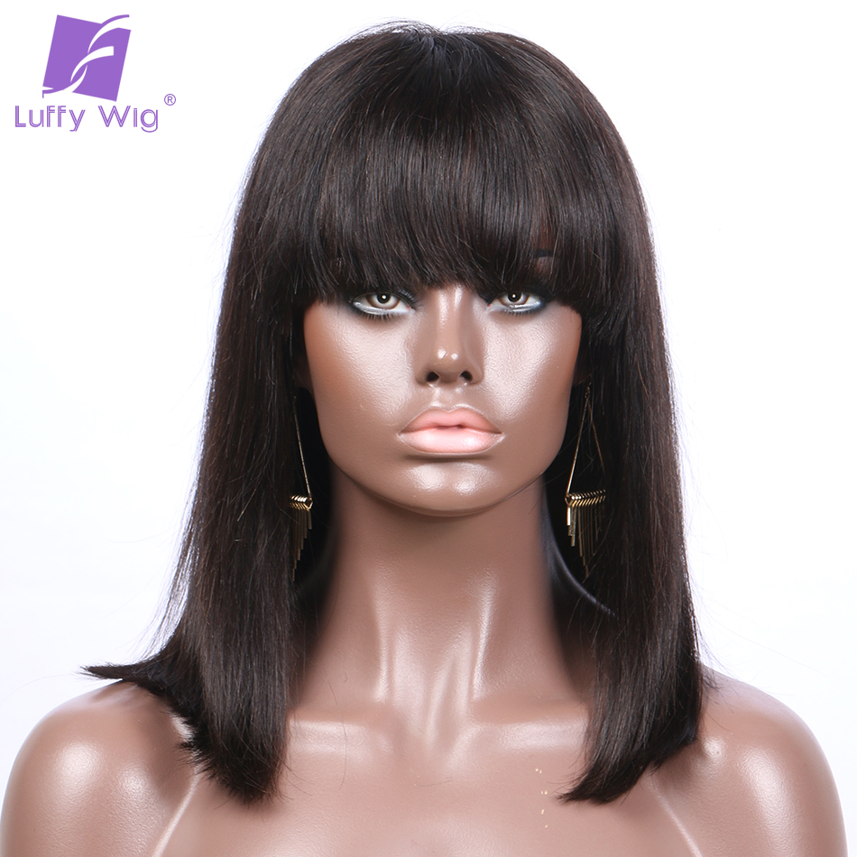 """Luffy Short Straight Lace Front Wigs with Bangs Indian Human Hair Bob Natural Color Non-Remy 8-16"""" 130denisty for Black women"""