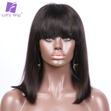 "Luffy Short Straight Lace Front Wigs with Bangs Indian Human Hair Bob Natural Color Non-Remy 8-16"" 130denisty for Black women"