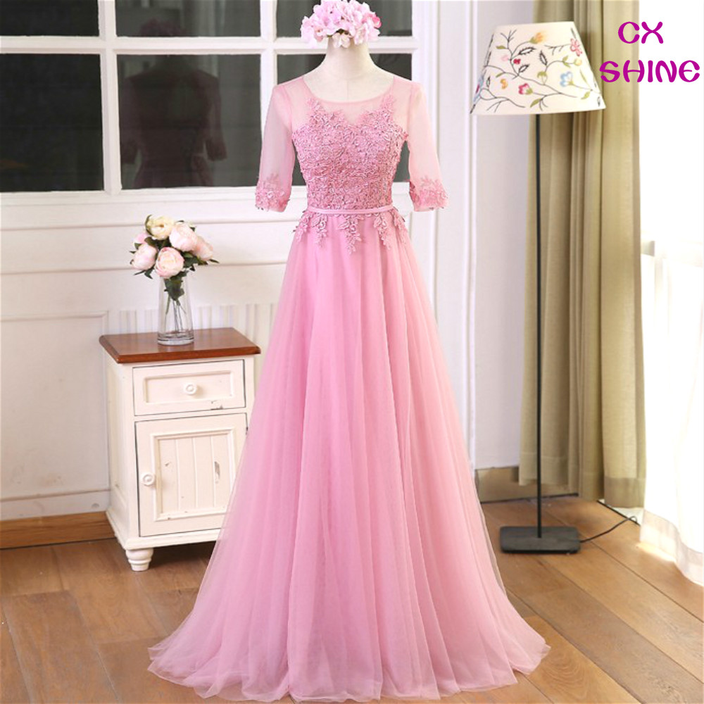 CX SHINE Pink Sliver Mezza maniche in pizzo fiore Abiti da sera lunghi Cava indietro Sposa Banchetto Robe De Soiree Party Prom Dress