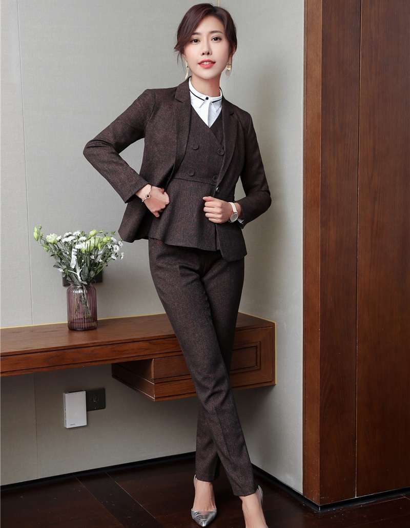 Formal 4 Piece Pantsuits With Jackets and Pants and Blouses and Vest Coat & Waistcoat Uniforms Styles Pants Suits Female Blazers