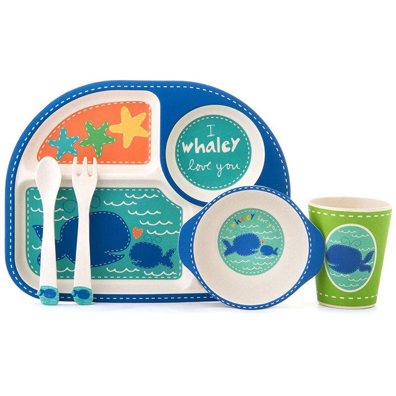 5 pièces/ensemble dessin animé vaisselle pour enfants fibre de bambou enfants assiette bol bébé dîner vaisselle ensemble cadeau de noël