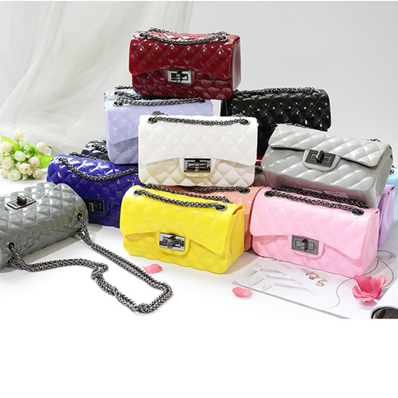 Summer Silica Gel Female Mini Chain Jelly Bag Women Diamond Lattice Small Flap Bag Girl Casual Clutch Silicone Bag Shoulder Bags