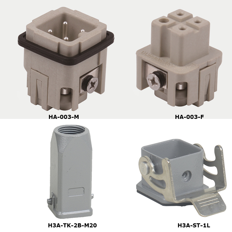 HA-003 Industry 3 Pins Silver plated surface  10A Voltage 230/400 V  Heavy duty Connectors Female male insert hood housing hd 007 surface mounting silver plated surface crimp terminal current 10a male female 250v 7 pins connector