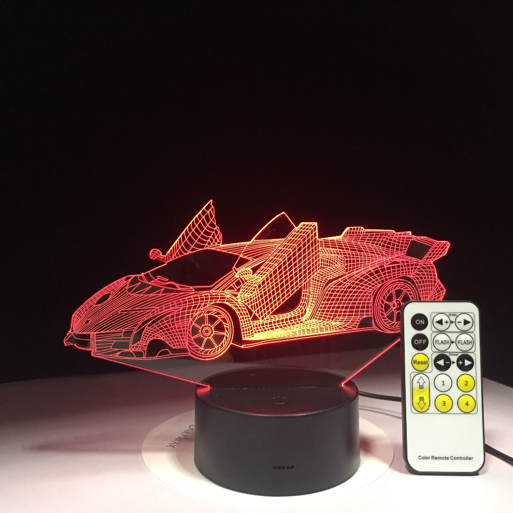 Sports Car 3D Nightlight Colorful Touch LED 3D illusion light with USB Power Visual Atmosphere Lamp Remote Control Drop Shipping женские часы 33 element 331819