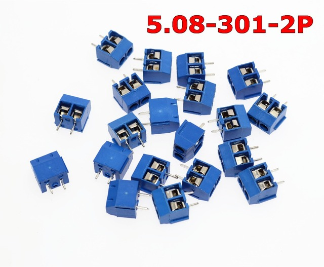 Free Shipping 5.08-301-2P 301-2P 50PCS 2 Pin Screw Terminal Block Connector 5mm Pitch
