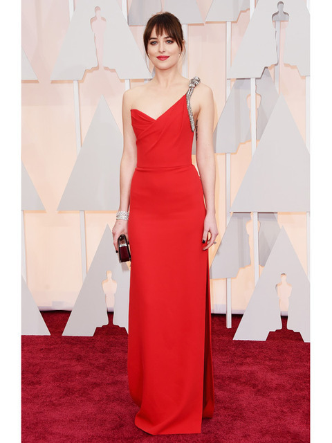 ZY038 Dakota Johnson Red Oscar Dress 2017 One Shoulder V Neck Backless  Sleeveless Kick Pleat Celebrity b49fe2bfa3dd