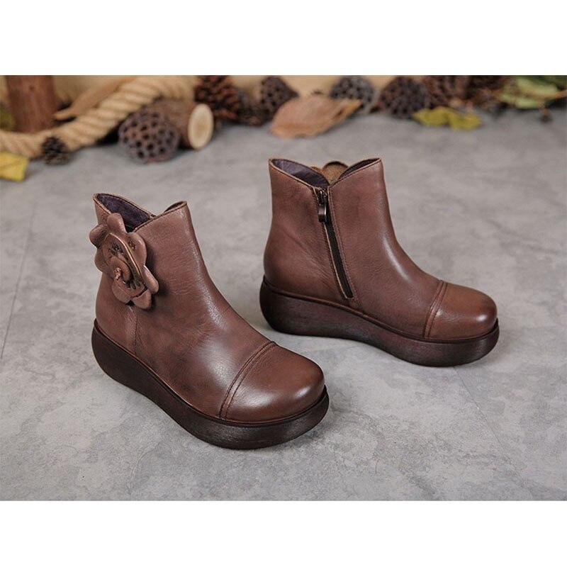 2018 BANGNIFAMILY Bout Rond Femmes chaussures D'hiver Noir et brun En Cuir Véritable chaussures Chaud Laine D'hiver de Neige avec fleurs dame chaussures