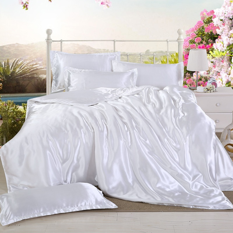 1pcs Duvet Cover Ice Silk Quilt Cover Solid Color High End Comfortable Twin Full Queen King Size Comforter Cover Free Shipping