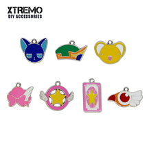 6pcs/lot Cartoon Pendants Floating Anime Sakura Kinomoto Enamel Charms DIY Accessories