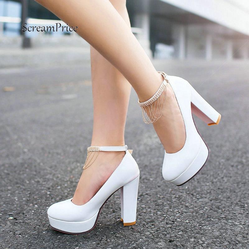 0768c9d9cd44 Women Thick High Heel Buckle Pumps Fashion Fringe Round Toe Shoes Women  Comfort Platform Dress Spring
