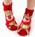 3D Новый Год Рождественские носки для женщин скольжению пола носки санта Рождественские подарки, санта снеговика и оленей шаблон носки