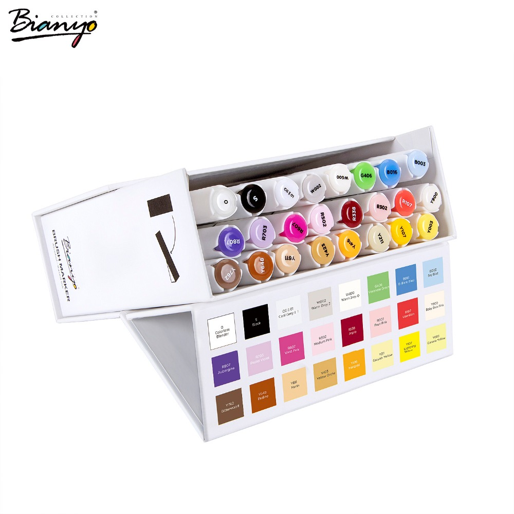 Bianyo 24 Colors Paint Brush Marker Alcohol Based Sketch Markers Pen for Office Design Animation Comic