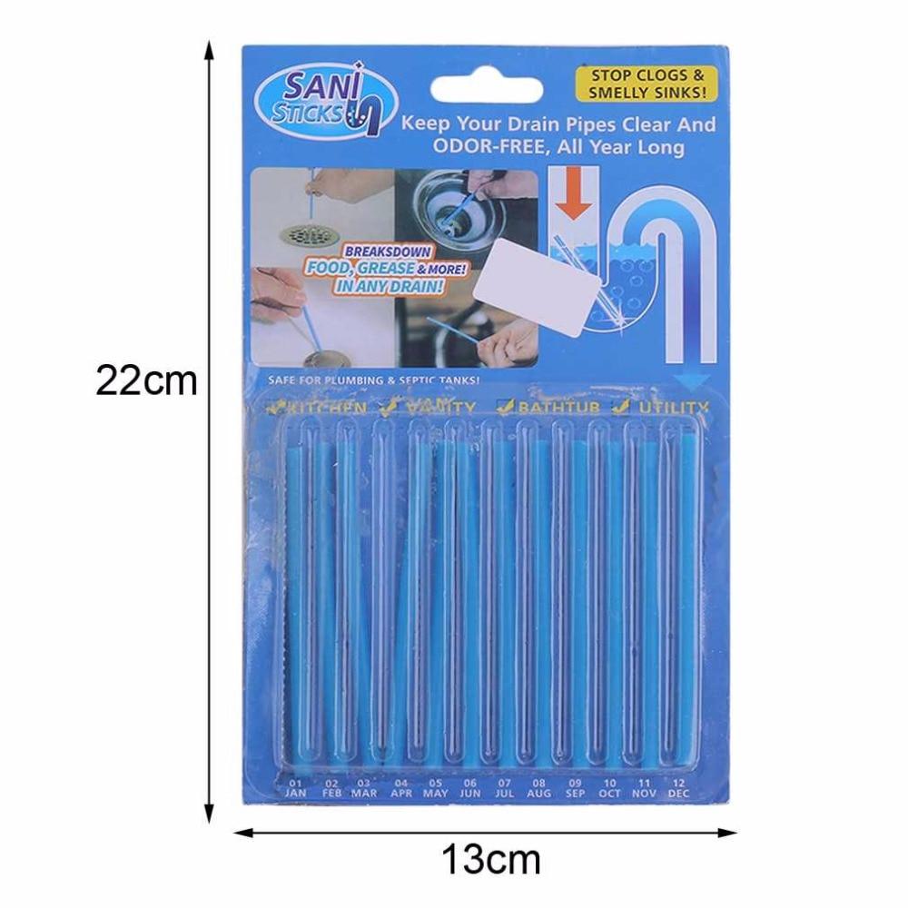 12st / set Blue Sticks Avloppsrör Avloppsrengöringsmedel Kök Toalett Badkar Avloppsdekontaminering Till Deodorant Avloppsrengöringsverktyg