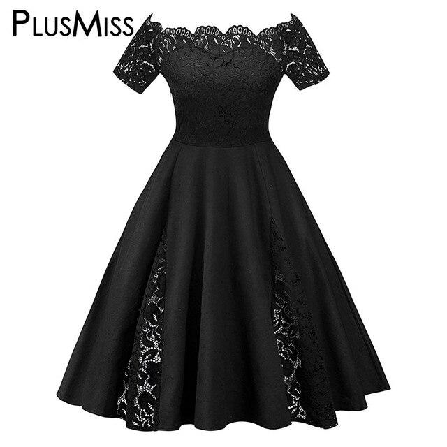 PlusMiss плюс Размеры 5XL пикантные элегантные Вечеринка платья женские большие размеры Винтаж ретро с открытыми плечами платье XXXXL XXXL XXL