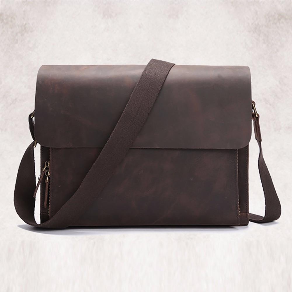 Top Quality Crazy Horse Genuine Leather Shoulder Bag Cross Body Designer Vintage Messenger Computer Bag Mens Business Briefcase