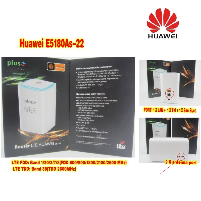 Unlocked Original Huawei E5180 E5180as-22 with Antenna 4G LTE Cube WiFi Hotspot Router Home wireless Router with sim card slot цена