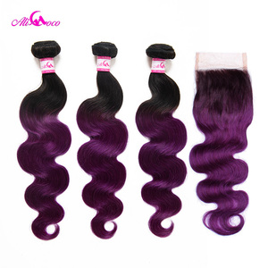 Image 2 - Ali Coco Body Wave 3 Bundle With Closure 1B/Purple Color Brazilian Hair Bundles With Closure 8 28 Inch Remy Hair Extension