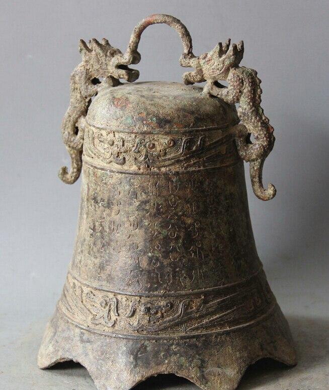 Elegante antigo S5983 10 arcaico Dynasty Chinese Palace Bronze Dois Dragão Templo Sino pendurado Zhong estátua (A0322) A0403 - 5