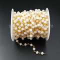 WT-RBC029 Wholesale Natural round Cream White beads 6mm Rosary chain in 24k real gold plated nontarnishable
