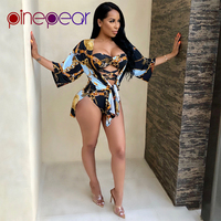 PinePear Gold Chain Print Bandage Bodysuit and Cover Up 2 Piece Set Beachwear 2019 Women Bathing Suit Beach Wear Drop Shipping