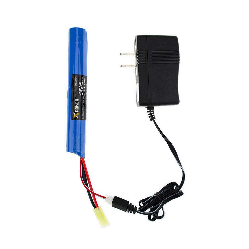 3 Pcs Lion Battery Kekuatan Senjata RC 7.4 V 1500 MAh 2S dan Charger dengan Kabel 30C Akku Mini airsoft Mainan RC Model TAMIYA Grosir