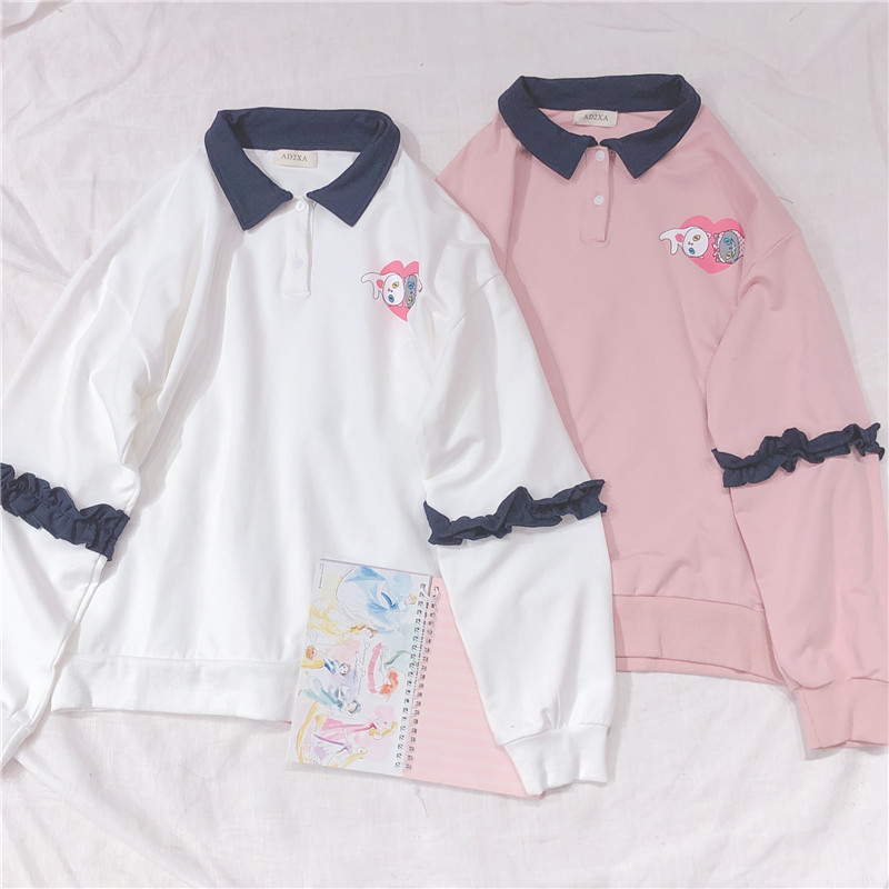 Harajuku Cute Cat Embroidery Women Hoodies Student Pullover Spring Polo Collar Ruffle Long Sleeve Sweatshirt Mori Girl