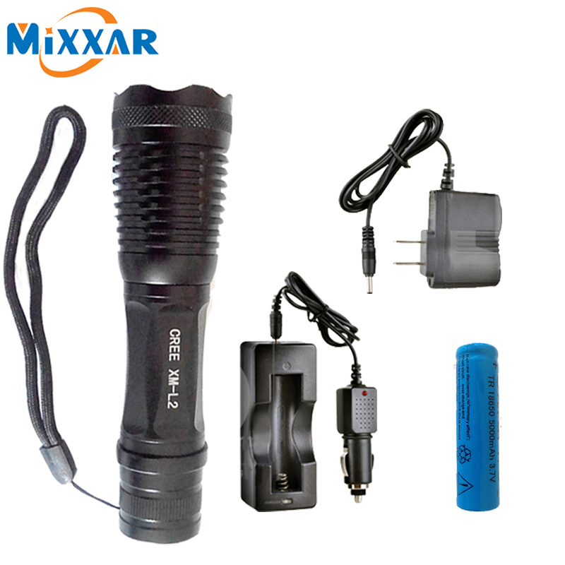 4500LM LED Flashlight CREE XM-L2 T6 5 Modes Torch Zoomable Waterproof Torch Lamp With Rechargeable 18650 5000mAh Battery cree xm l2 flashlight 5000lm adjustable zoomable led xm l2 flashlight lamp light torch lantern rechargeable 18650 2chargers z30