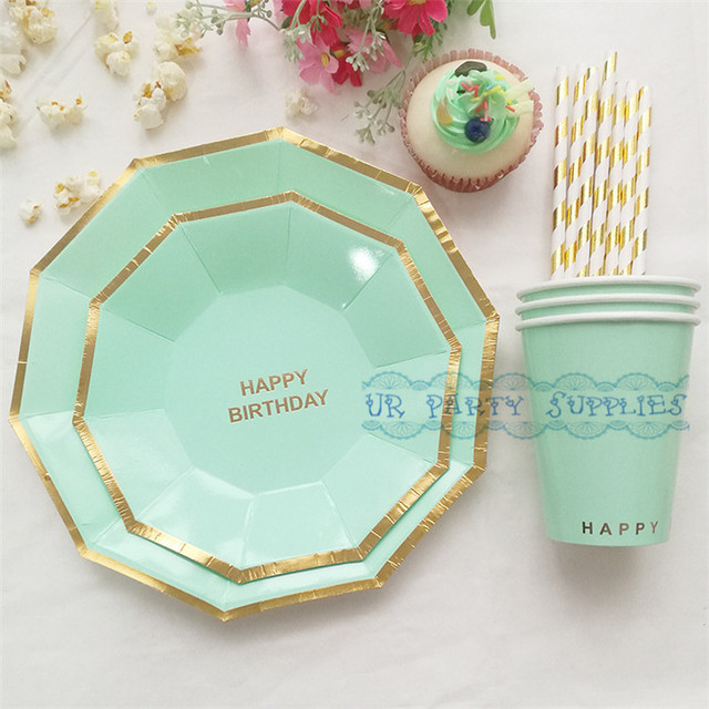 24 Sets Sweet Pastel Mint Foil Gold Paper Tableware Hexagon Paper Plates Paper Cups Paper Straws & 24 Sets Sweet Pastel Mint Foil Gold Paper Tableware Hexagon Paper ...