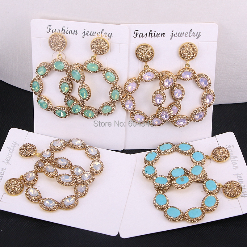 5Pairs Zyunz Round Flower Earrings Pave Rhinestone Cat Eye / Howlite Stone Drop Dangle Earrings Gold Color Jewelry For Women