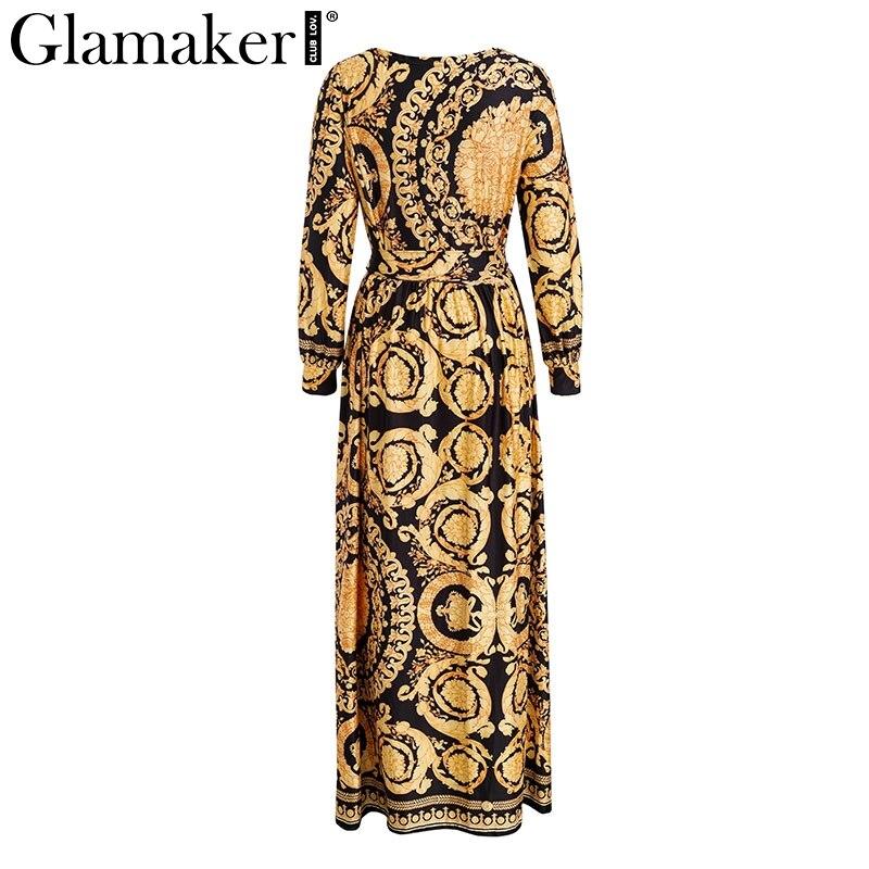 Glamaker Vintage split sexy boho dress Women autumn elegant print maxi dress long sleeve paisley 19 party club dress robe 4