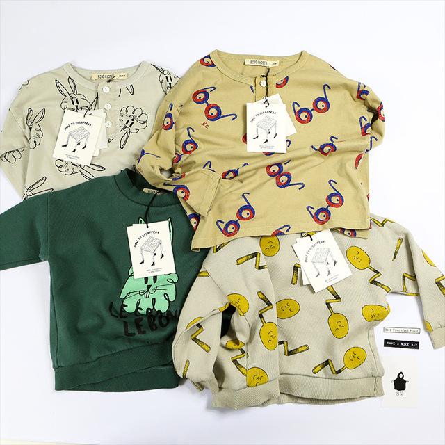 2016 otoño invierno bobo choses conejo sudaderas con capucha niños sudaderas vestidos vetement enfant fille garcon bebe ropa de los cabritos