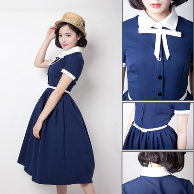 Fashion Vintage Audrey Hepburn Dress Retro 50s Dress 50s Swing Dress Vestidos Femininos Ol