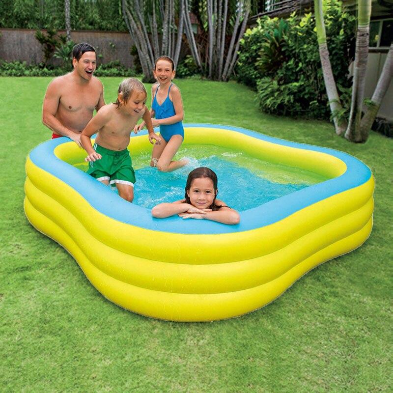 INTEX 229*229*56 CM Famille Piscine Gonflable Enfants de Boule Marine Piscine Coffre-Fort Non-toxique De Natation piscine Pliable Baignoire Avec Pompe