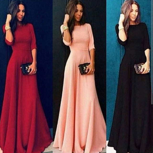 2018 Summer Sexy Elegant Women Half Sleeve Slim Empire O-neck Vestido Evening Formal Party Prom Long Maxi Dress Plus Size S-2XL 15