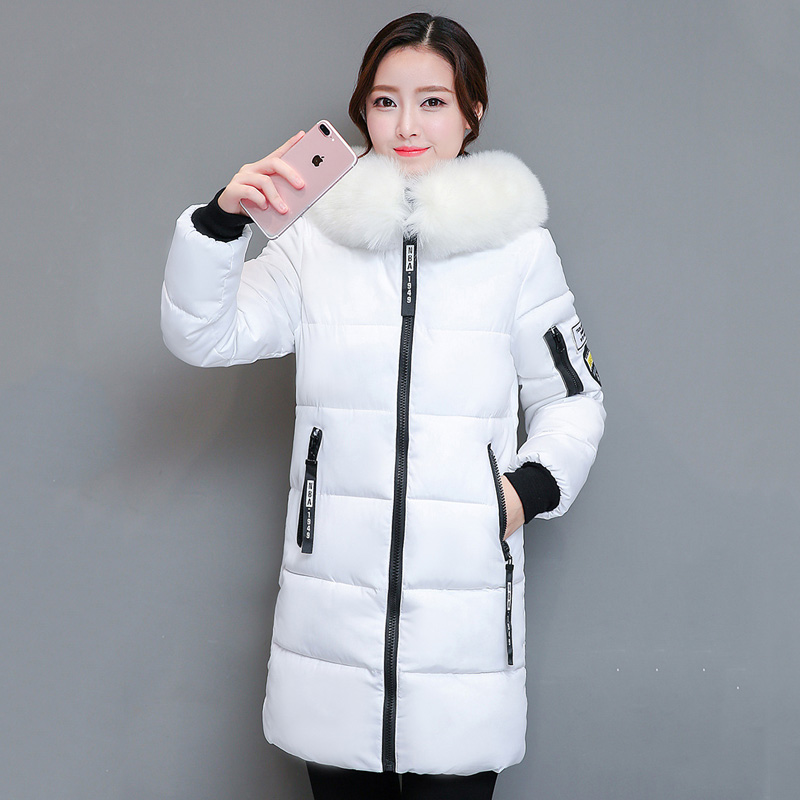 2018 women hooded warm coat winter jackets Big fur collar hats long   parka   cotton padded jacket female womens wadded plus size