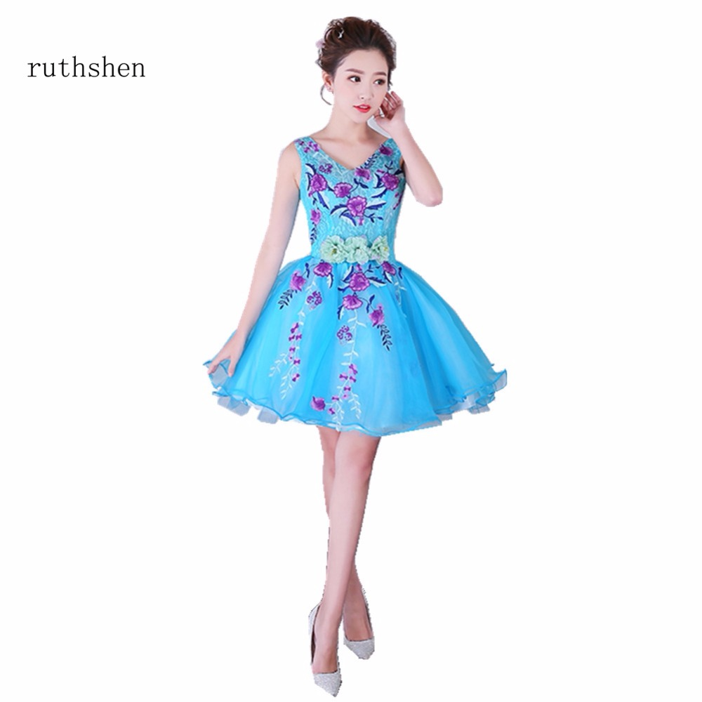ruthshen Robe De Soiree Mini Short Blue Short   Cocktail     Dresses   2018 Sexy V Neck Vestidos Coctel Knee Length Party Prom   Dresses