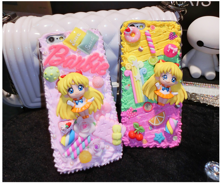 Sailor Moon Serena 3D Anime Cartoon Kawaii Decoden Whipped Cream Phone Case for galaxy s6 s8 S7 edge for phone 6s 7 plus
