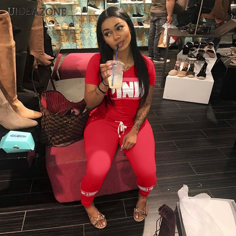 2019 Pink Letter Print 2pcs Tracksuits Women Two Piece Set Street T-shirt Tops And Jogger Set Suits Casual 2pcs Outfits