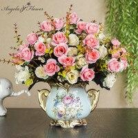1set Europäischen künstliche blume + vase wohnzimmer hause tisch hochzeit decor vergossen bonsai ornament silk flores + Keramik vase geschenk